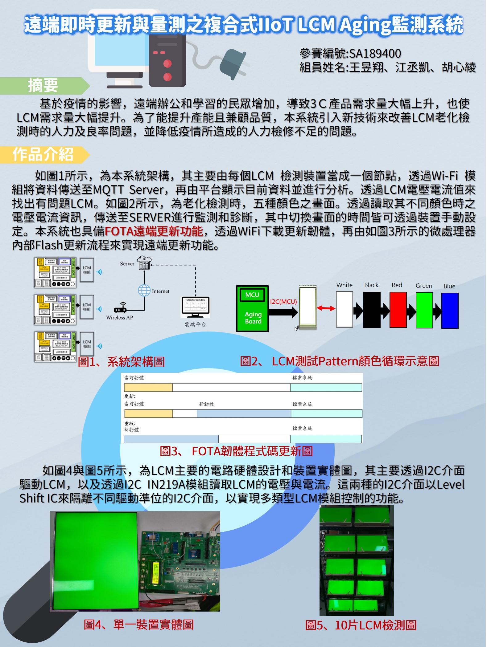遠端即時更新與量測之複合式IIoT LCM Aging監測系統